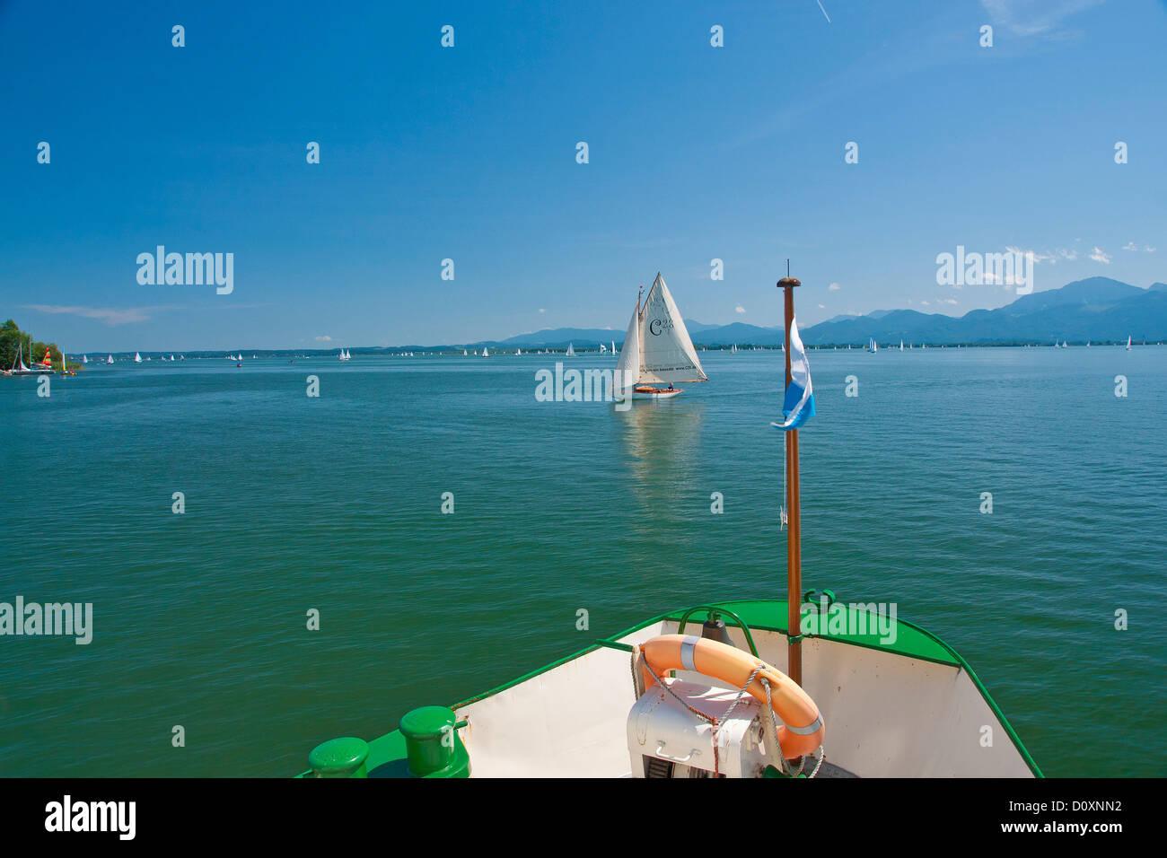 Bavaria, Germany, Europe, Upper Bavaria, Chiemsee, women's island, Fraueninsel, Frauenwörth, Herrenwoerth, - Stock Image