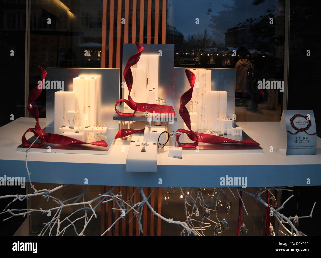 The Georg Jensen silversmith lifestyle shop's Christmas display on pedestrian and shopping street Strøget - Stock Image