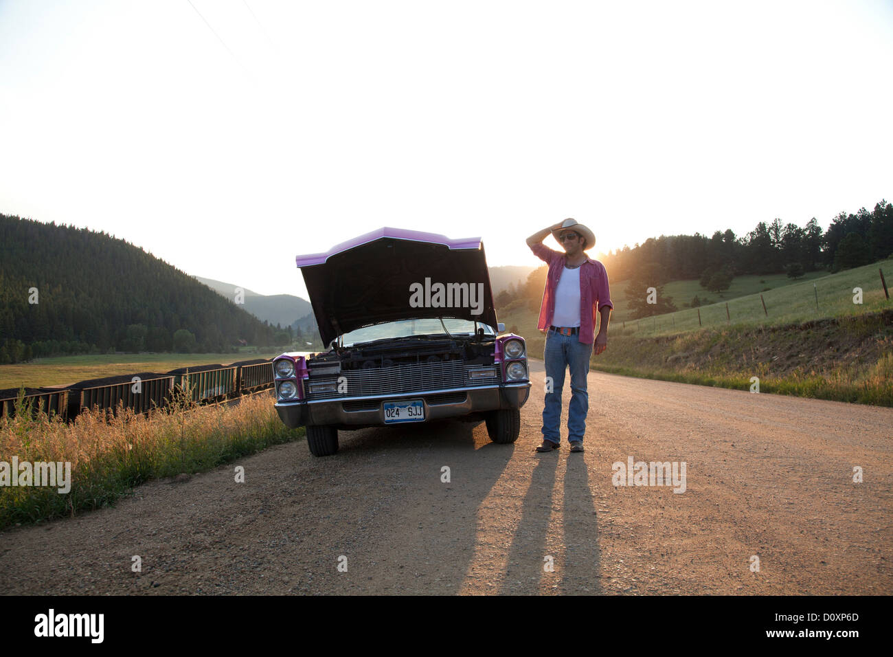 Man and car with hood up - Stock Image