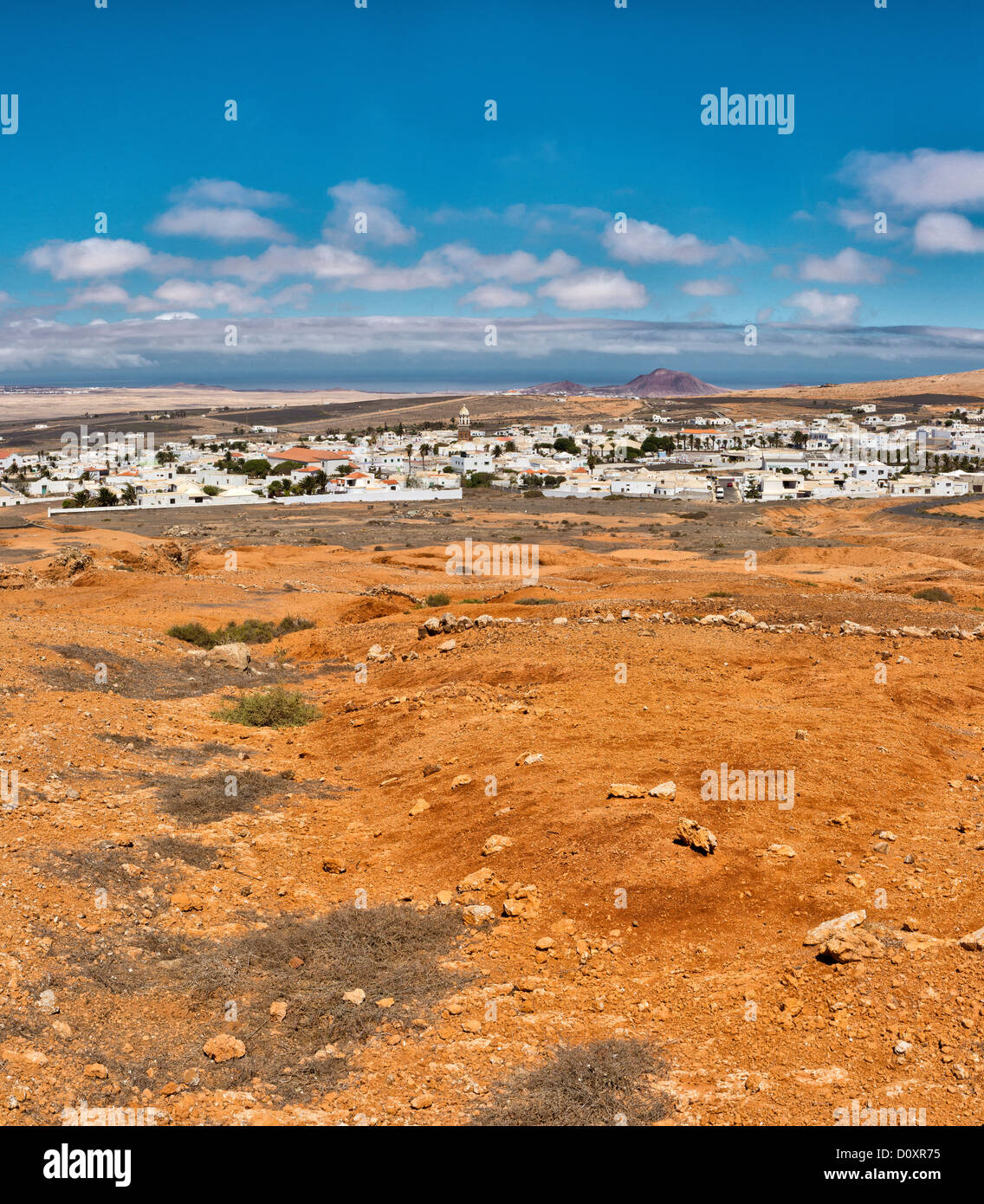 Spain, Lanzarote, Teguise, white village, red, soil, city, village, summer, mountains, hills, Canary Islands, - Stock Image