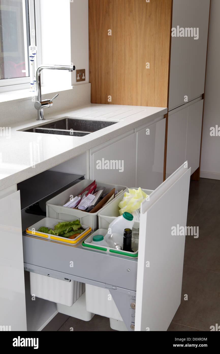 Waste and recycling bins in a drawer - Stock Image