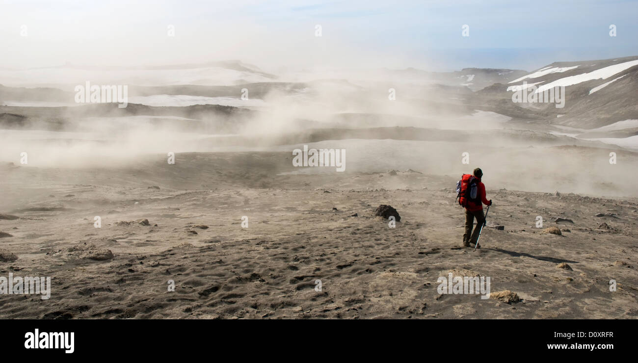 Ash clouds, hiking south of the Fimmvorduhals pass on the Volcano eruption area of 2010, South-West Iceland, south - Stock Image