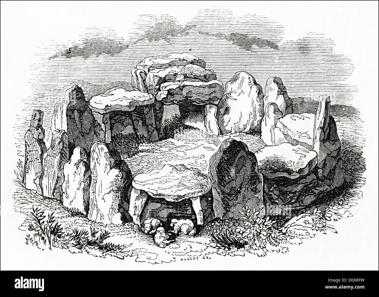Victorian woodcut engraving circa 1864 of stone circle in Jersey - Stock Image