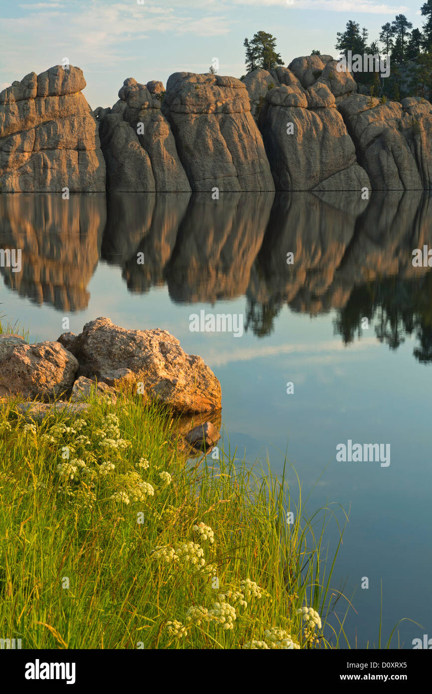 USA, United States, America, Sylvan Lake, cliffs, water, Black Hills, lake, sunrise, steep, forest, morning, still, - Stock Image