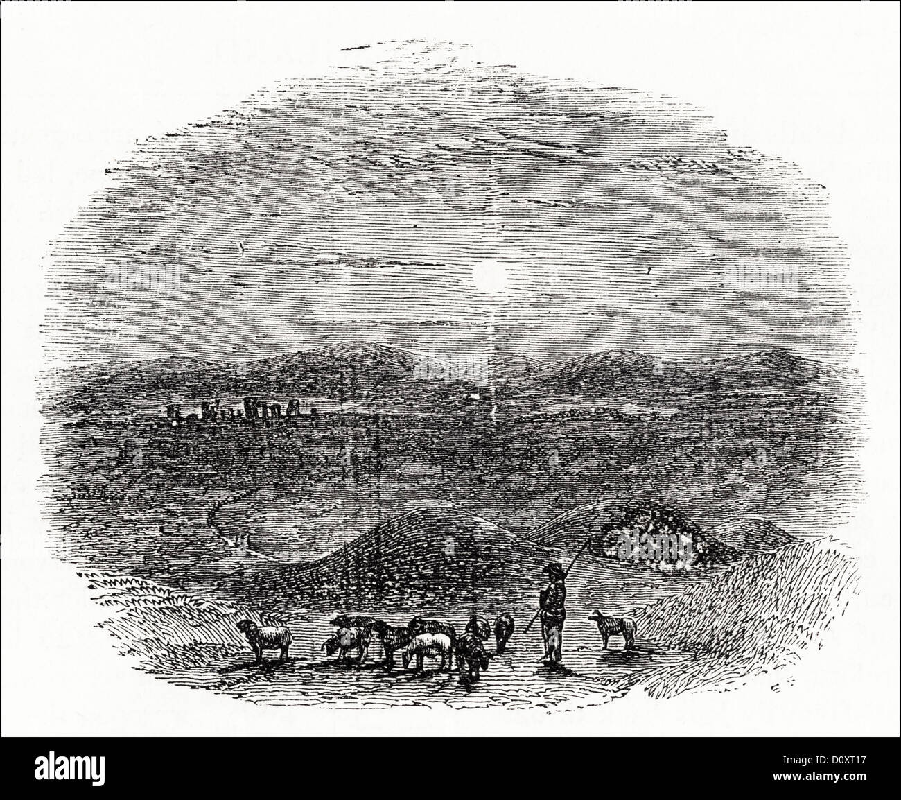 Victorian woodcut engraving circa 1864 showing Sarum Plain with shepherd and flock of sheep looking toward Stonehenge. - Stock Image