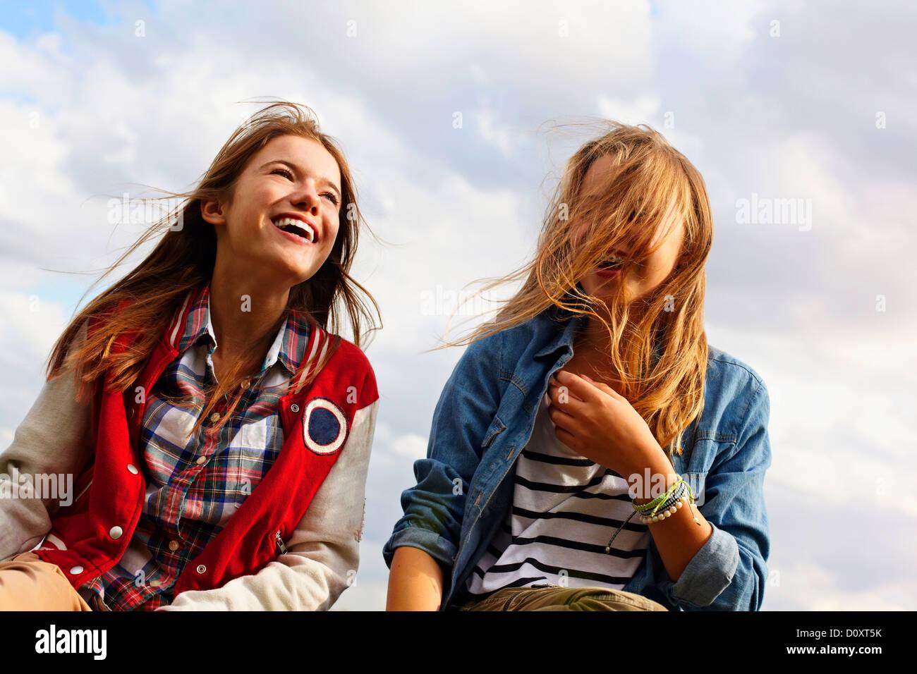 Happy teenage girls Stock Photo