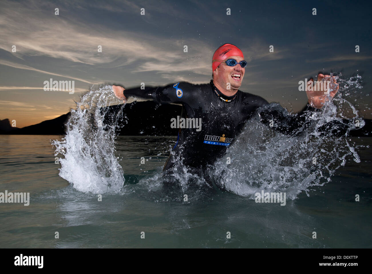 Austria, Europe, Ironman, man, sport, swimming suit, swimming, lake, Attersee, extreme sport, triathlon - Stock Image