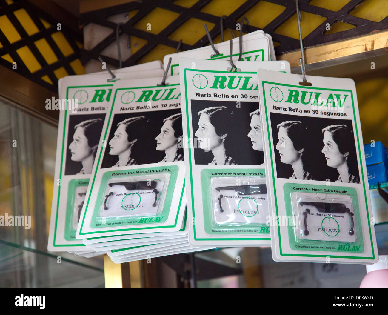 Rulav Nose Corrctors on sale in Pharmacy in Coyoacan in Mexico City DF - Stock Image