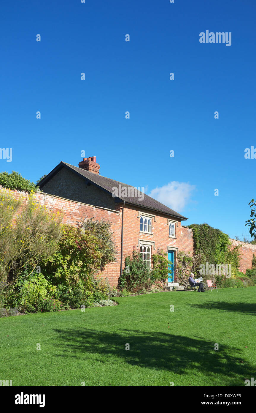 Walled garden with gardeners cottage, Croft Castle, Herefordshire, England, UK - Stock Image