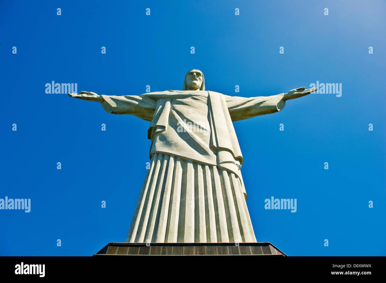 Christ the Redeemer Statue, Rio de Janeiro, Brazil - Stock Image