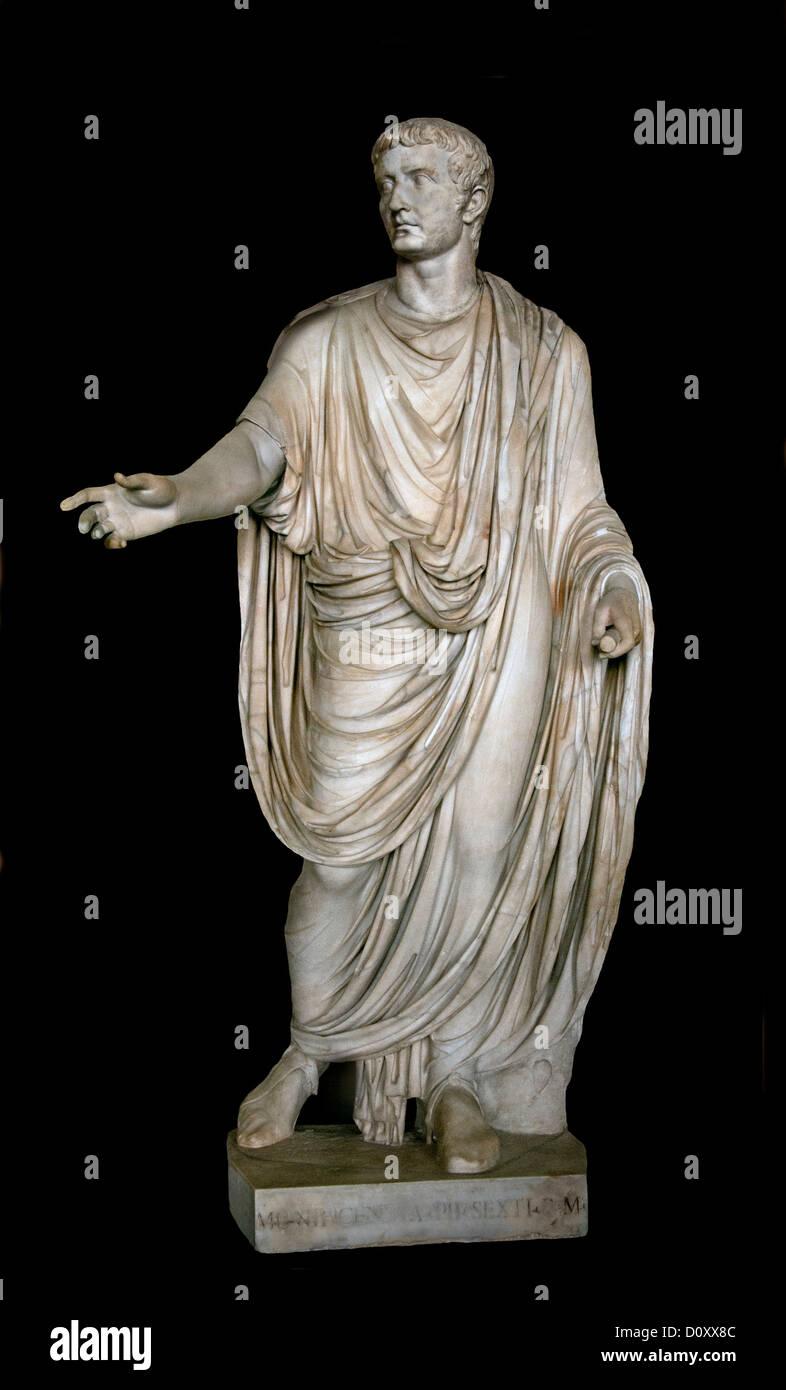 Roman Emperor Tiberius Augustus born Tiberius Claudius Nero 42 BC - 16 AD Rome Italy Italian - Stock Image