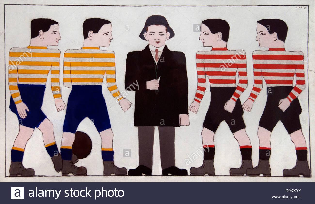 Footballers 1913 Bart van der Leck  Dutch Netherlands - Stock Image