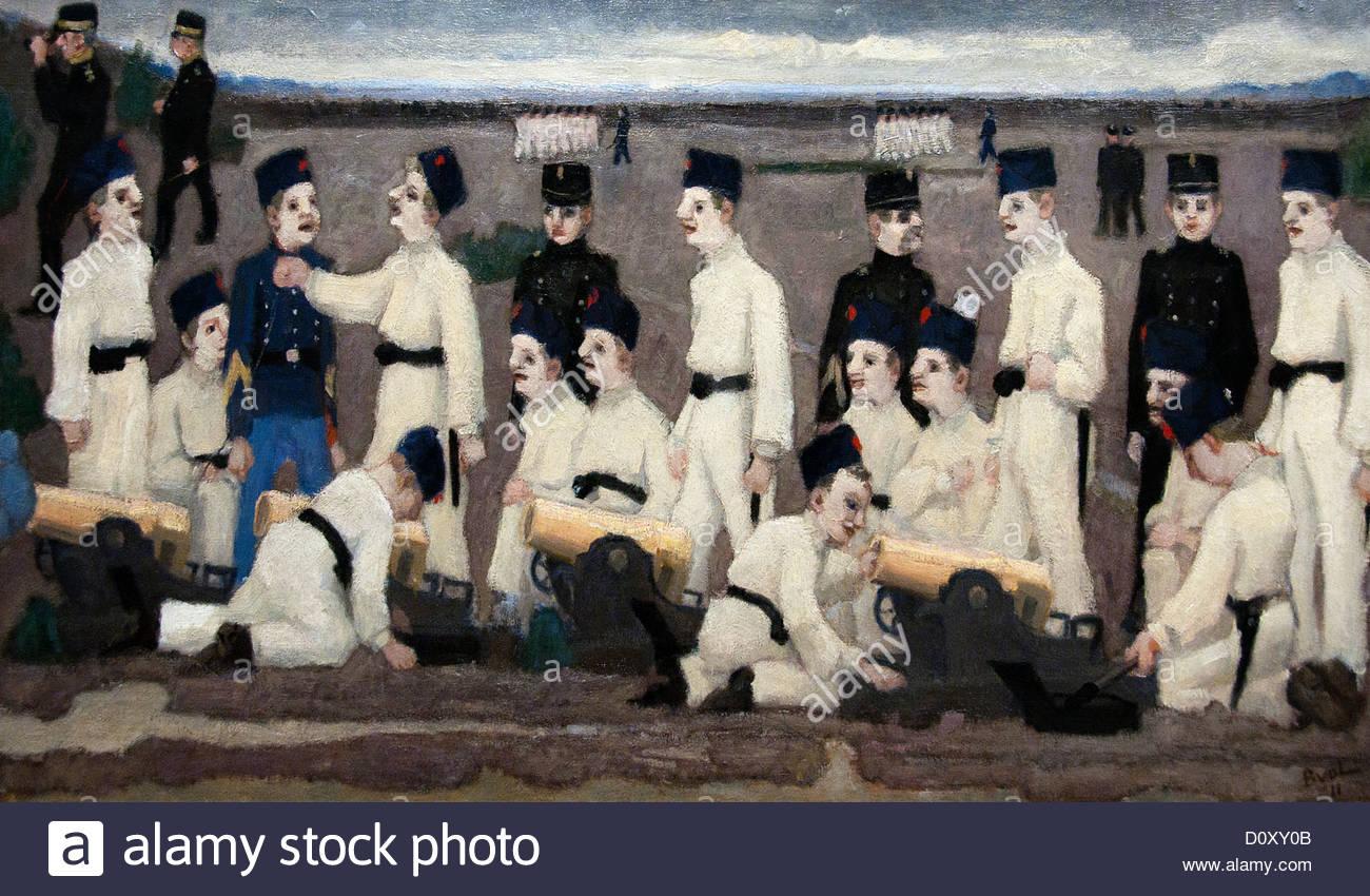 Artillery Training 1911 Bart van der Leck Dutch Netherlands - Stock Image