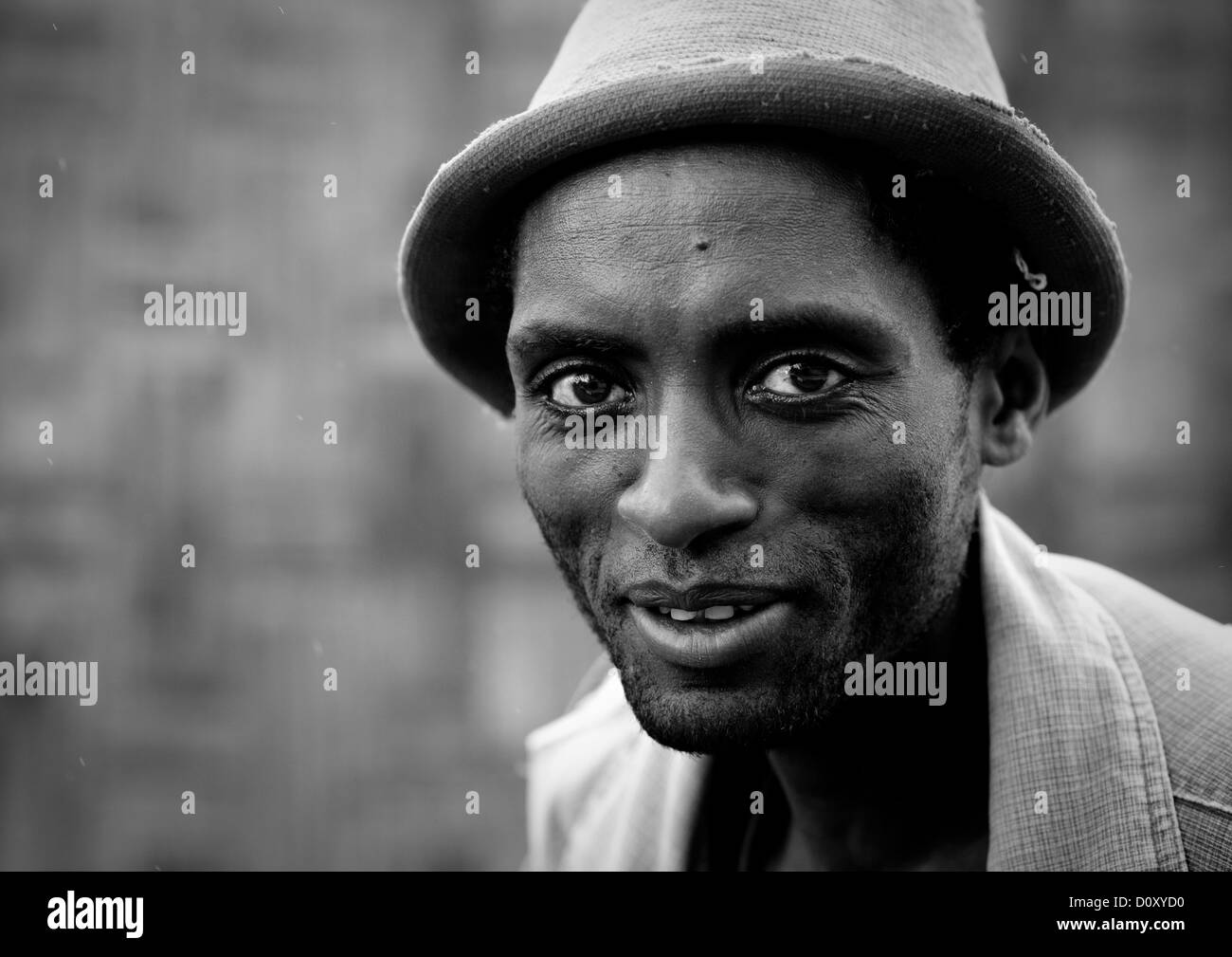 Black And White Portrait Of A Young Dorze Tribe Man With Hat, Chencha, Ethiopia - Stock Image