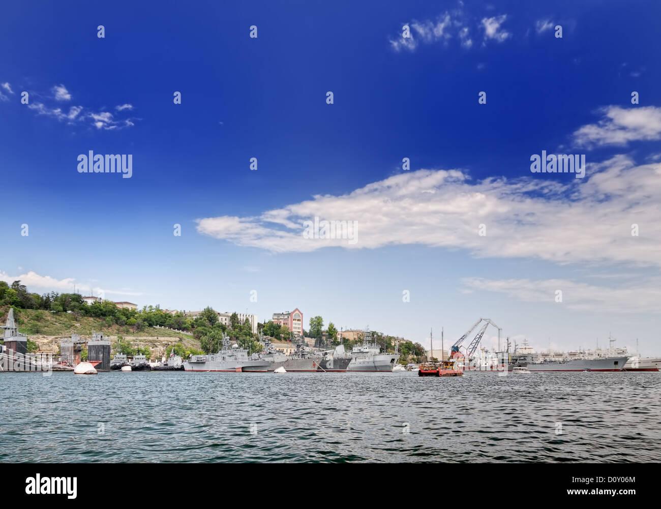 Battleships parked in Sevastopol - Stock Image