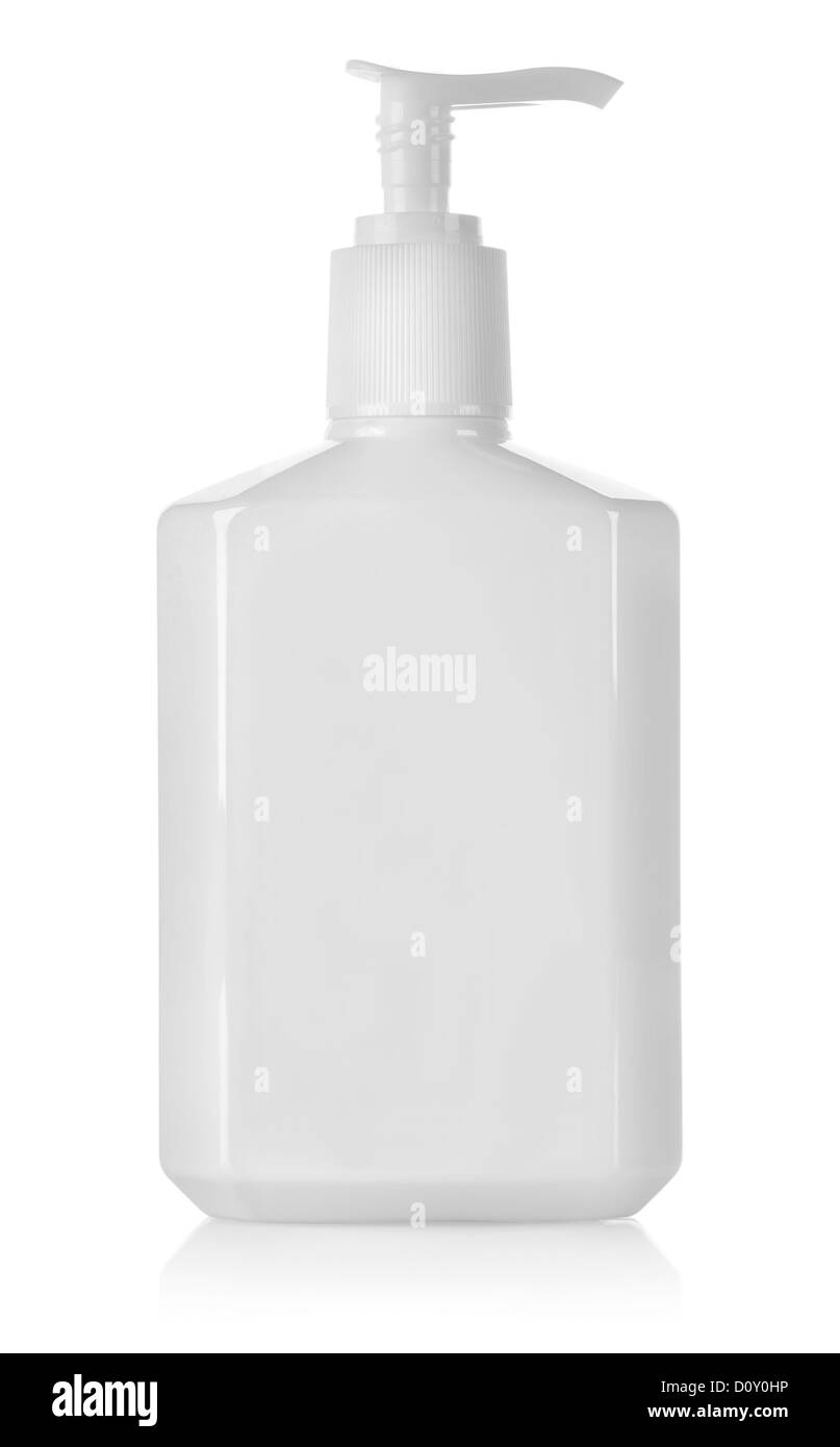 White container with spray without a label isolated on a white background - Stock Image