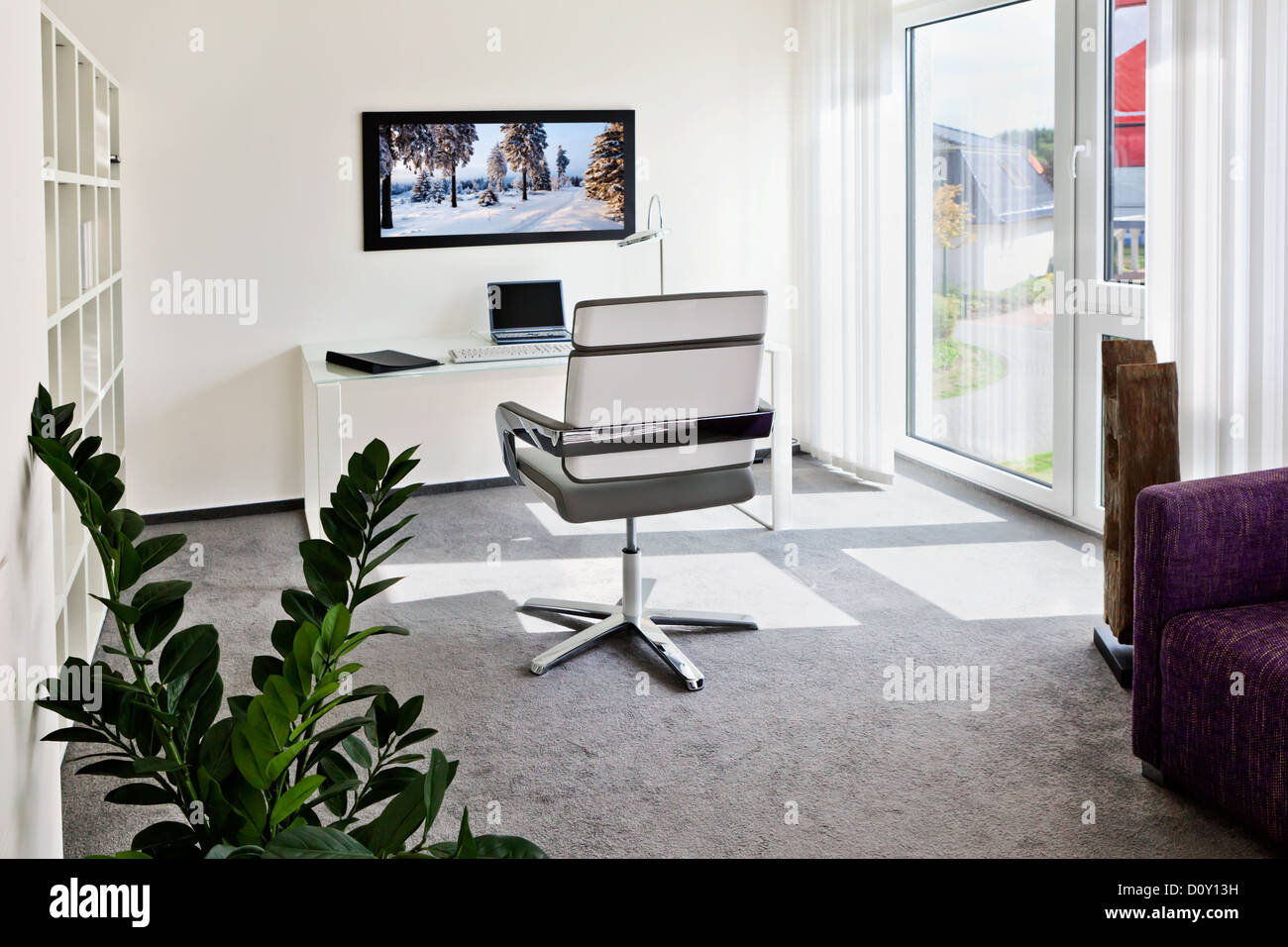 Modern interior of home office - Stock Image