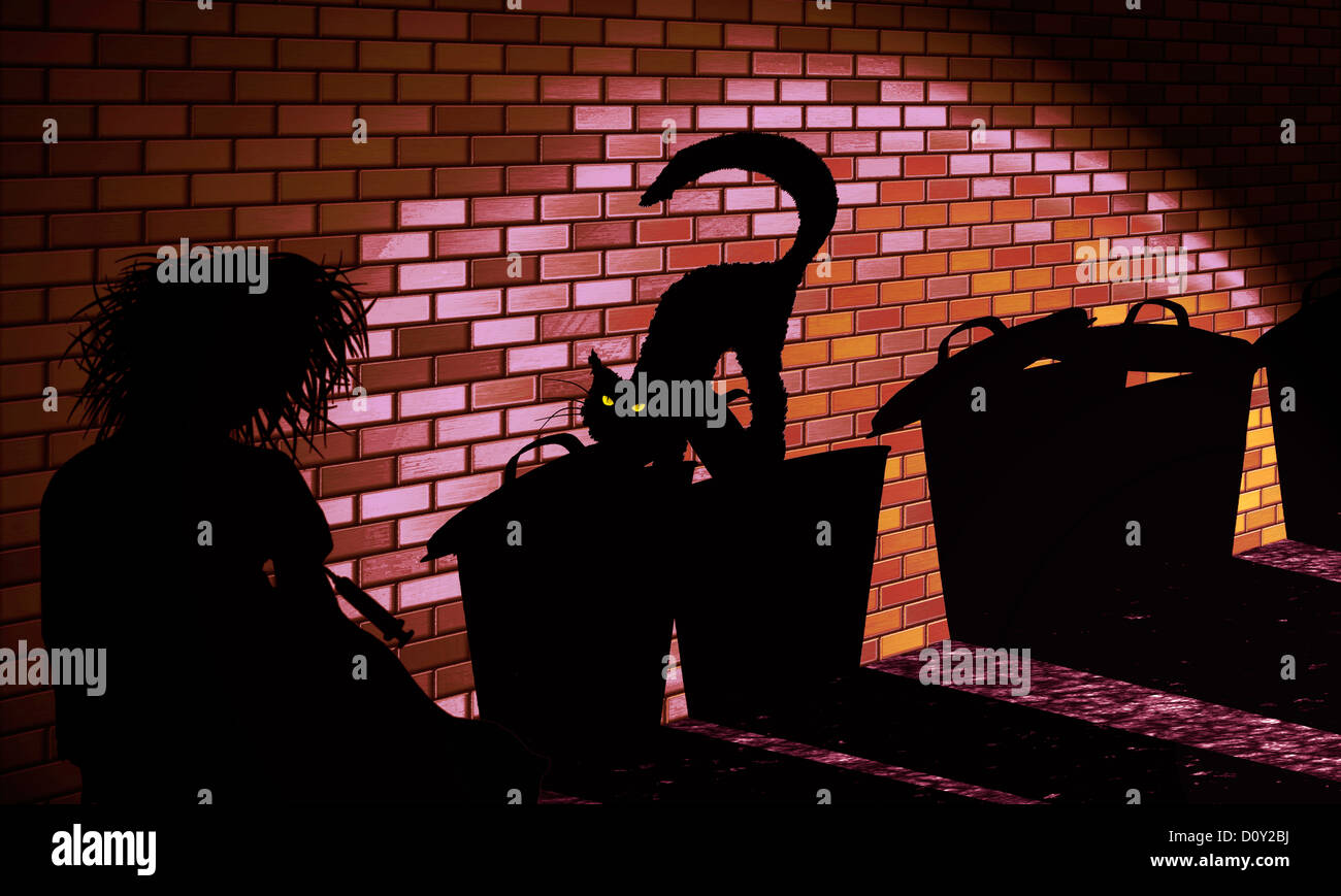 digital enhancement - illustration - shadow image - heroin addict - cat and trash cans in backyard - symbolism of - Stock Image