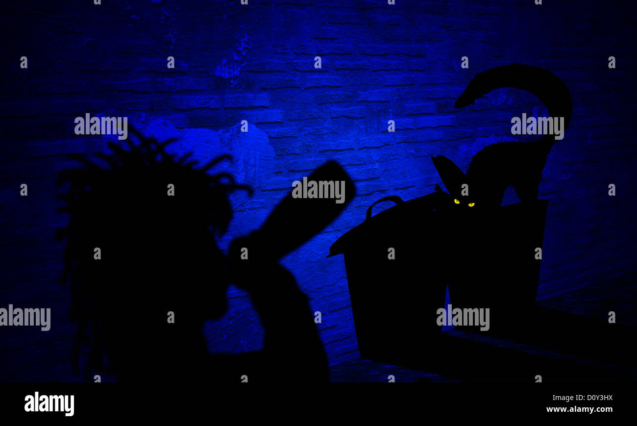 digital enhancement - illustration - shadow image - alcohol addict - cat and trash cans in backyard - symbolism - Stock Image