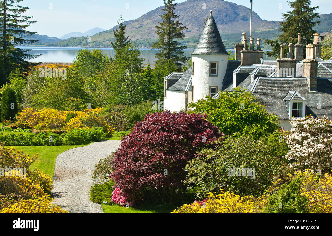 ATTADALE HOUSE ON LOCH TORRIDON WITH EXTENSIVE GLORIOUS GARDENS ON THE  WEST COAST OF SCOTLAND - Stock Image