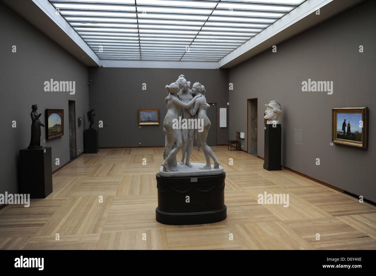 Marble sculpture group of the Three Graces by the italian sculptor Antonio Canova (1757-1822). Ny Carlsberg Glyptotek. Stock Photo