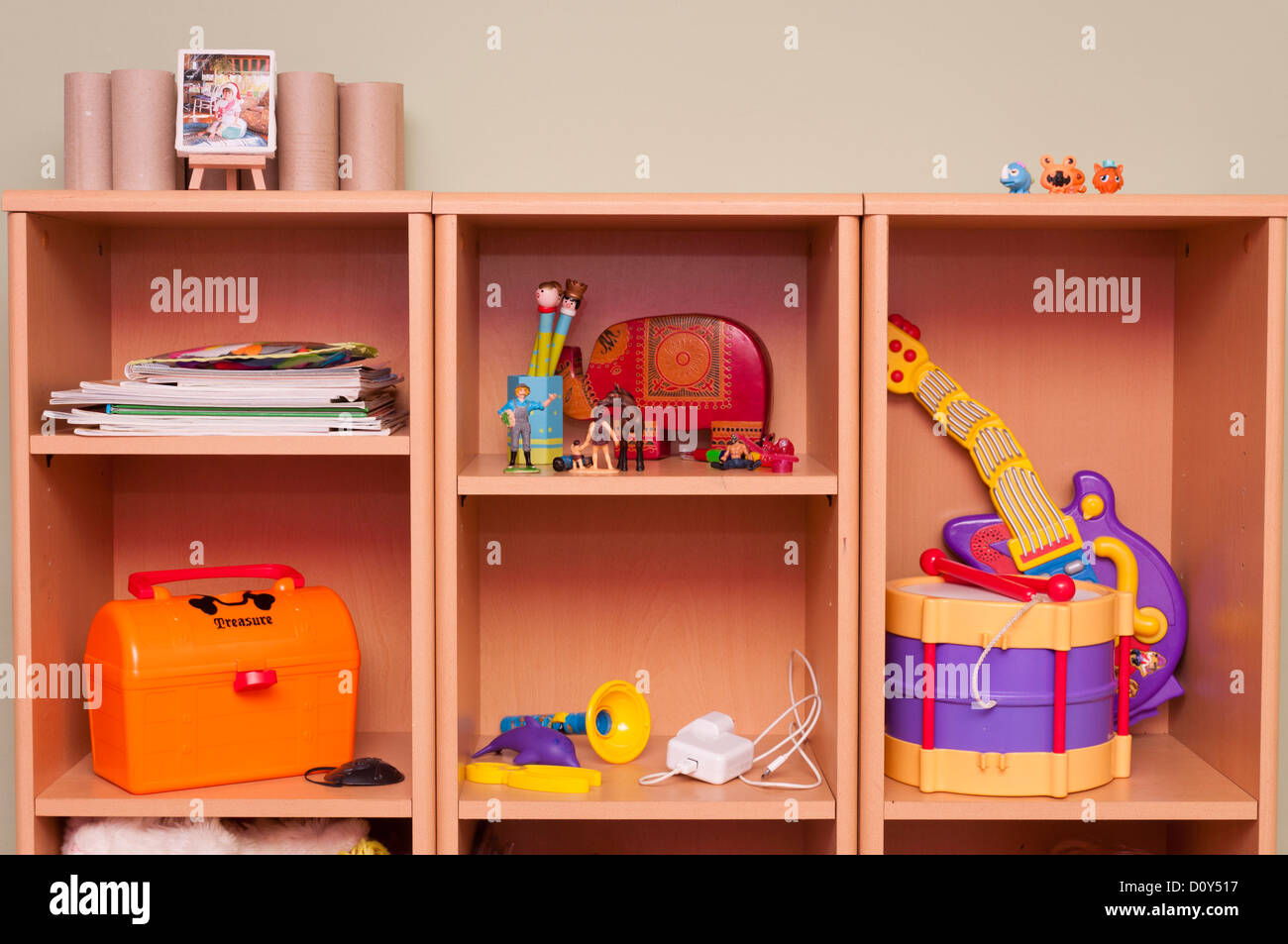 Child's toys and things in bedroom. - Stock Image