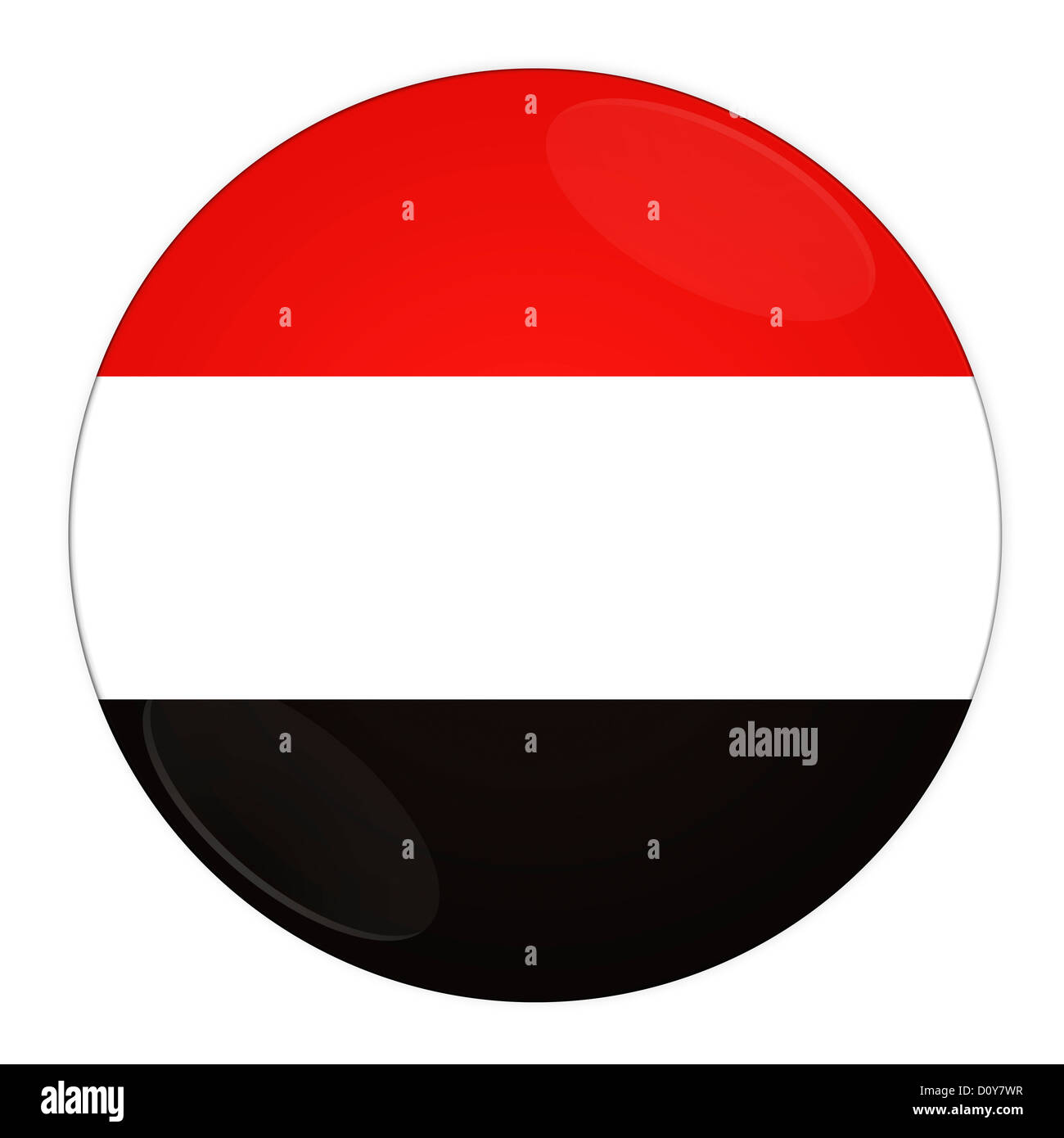 Yemen button with flag - Stock Image