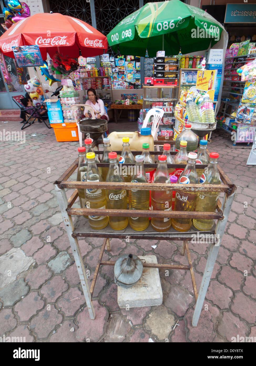 Gasoline refill station in Phnom Penh Cambodia - Stock Image