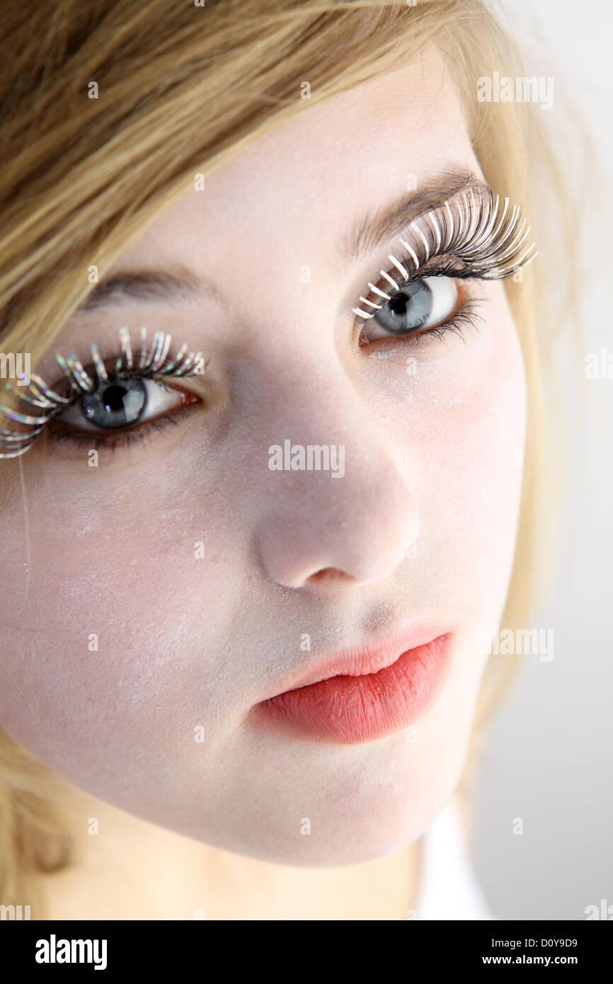 Woman False Eyelashes Blonde Stock Photos Woman False Eyelashes
