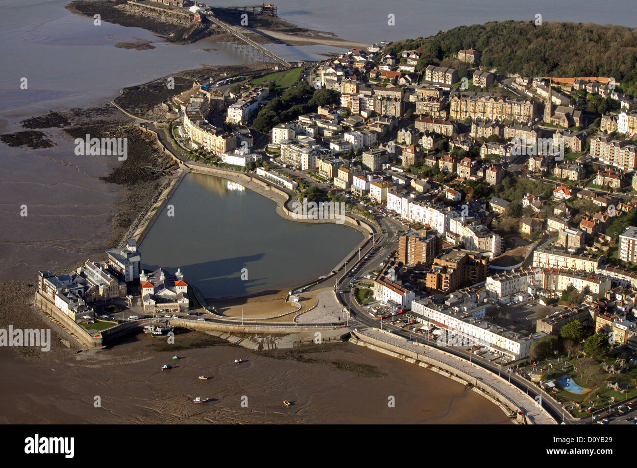 aerial view of the Marine Lake and Weston-super-Mare - Stock Image