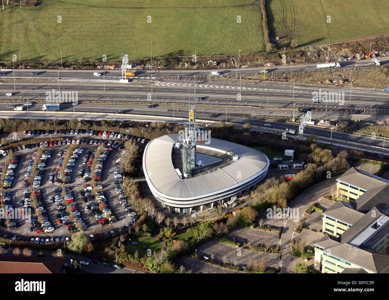 aerial view of the RAC Regional Control Centre, Bristol at the junction of the M5 and M4 - Stock Image