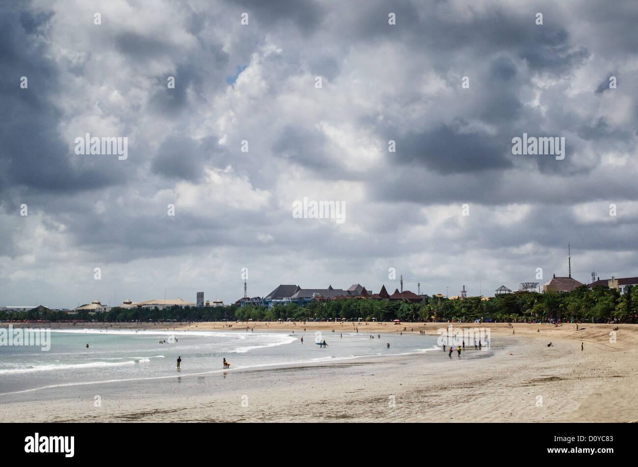 Kuta Beach viewed from Oceans 27 beach club - Stock Image