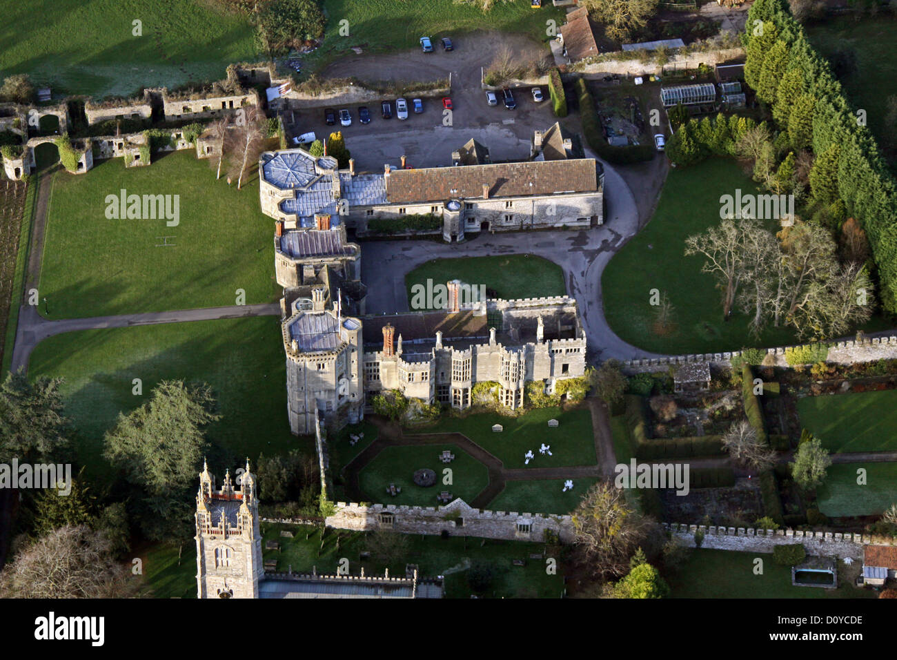 aerial view of Thornbury Castle, Gloucestershire - Stock Image