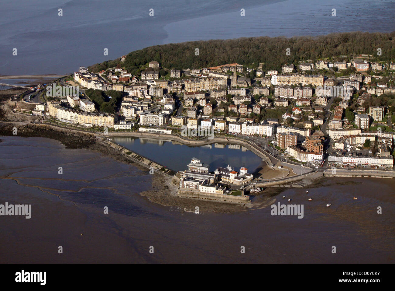 aerial view of Marine Lake at Weston-super-Mare with Weston Bay in the foreground and Worlebury Hill behind - Stock Image