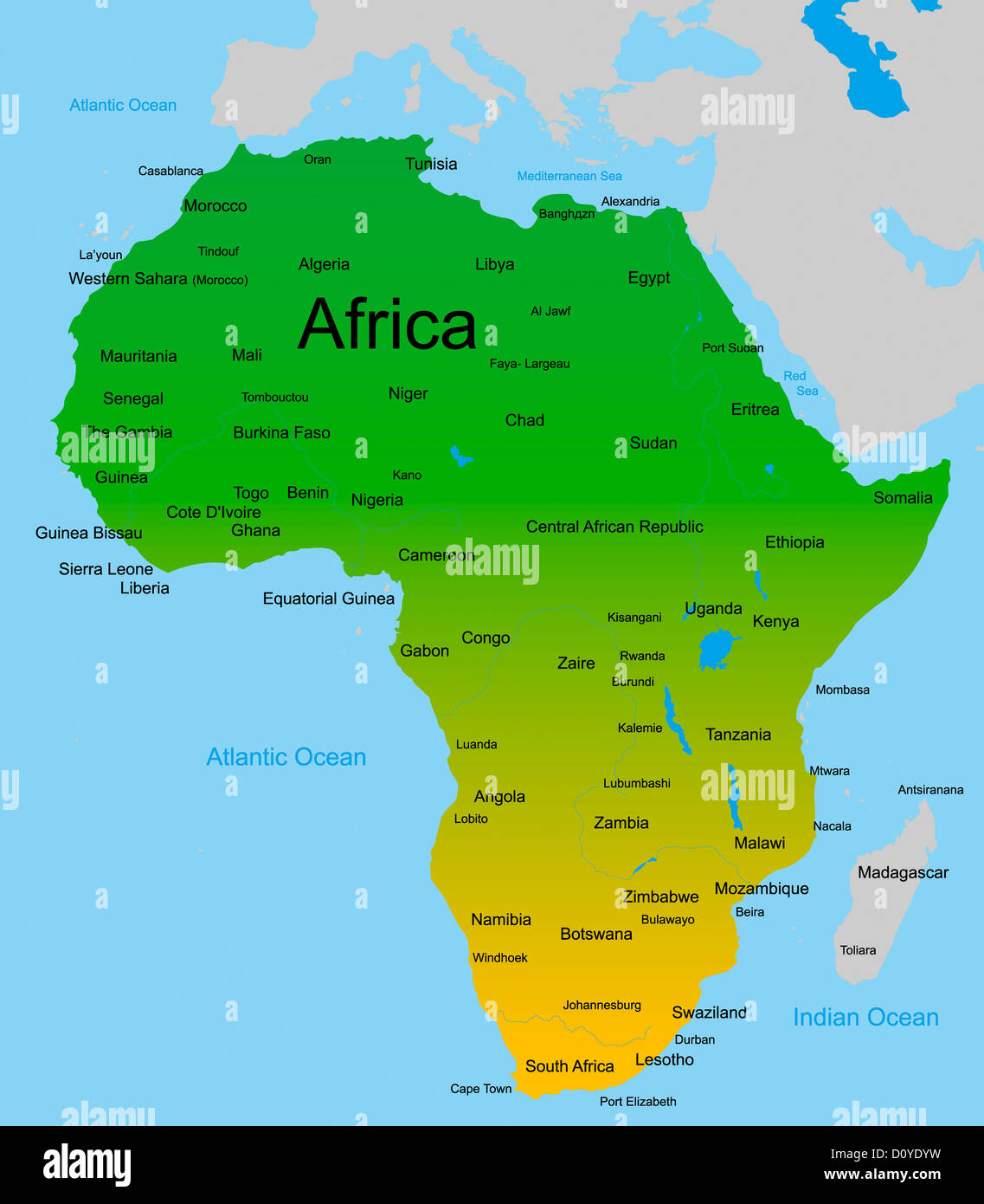 map of african continent Stock Photo: 52234781 - Alamy