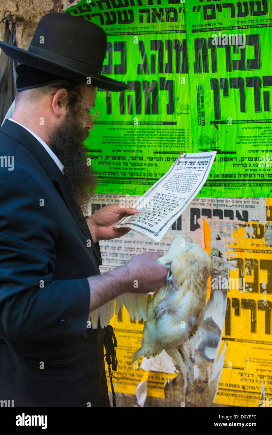 An ultra Orthodox Jewish man prays with a chicken during the Kaparot ceremony held in Jerusalem Israel - Stock Image