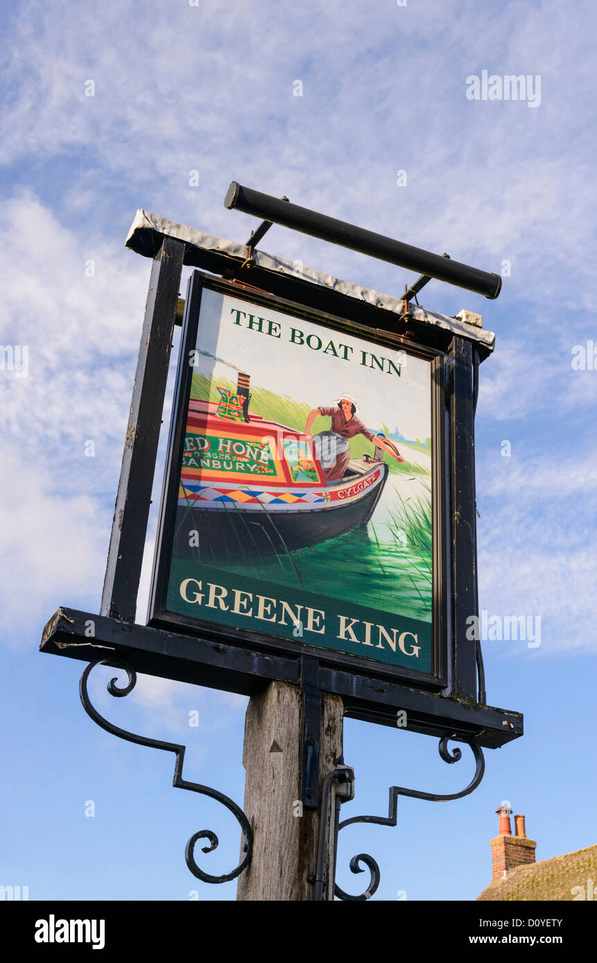 Pub sign for the Boat Inn by the Oxford Canal at Thrupp Oxfordshire England UK - Stock Image