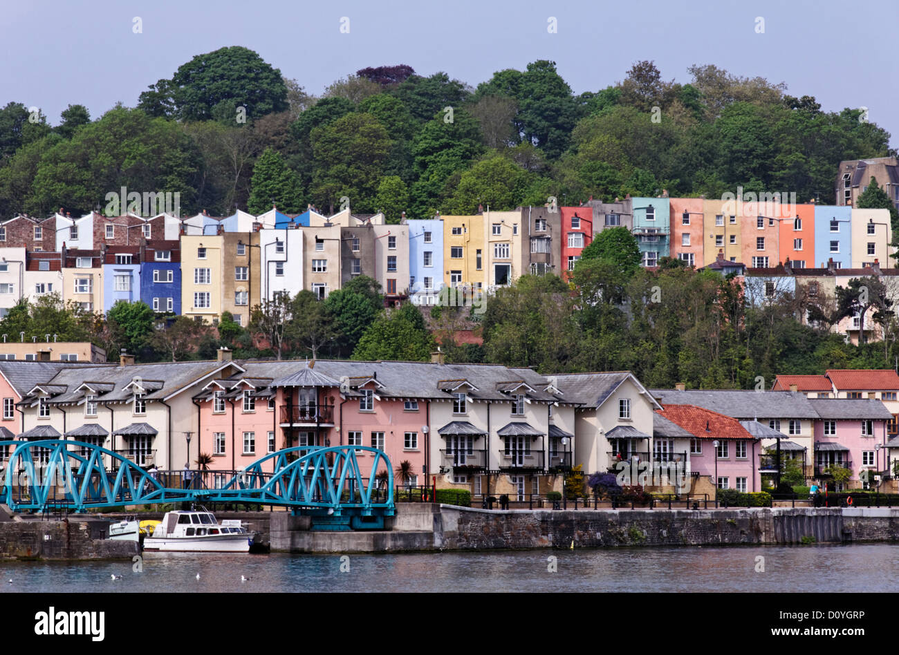 Colourful terraced houses at Harbourside, Bristol, Somerset - Stock Image