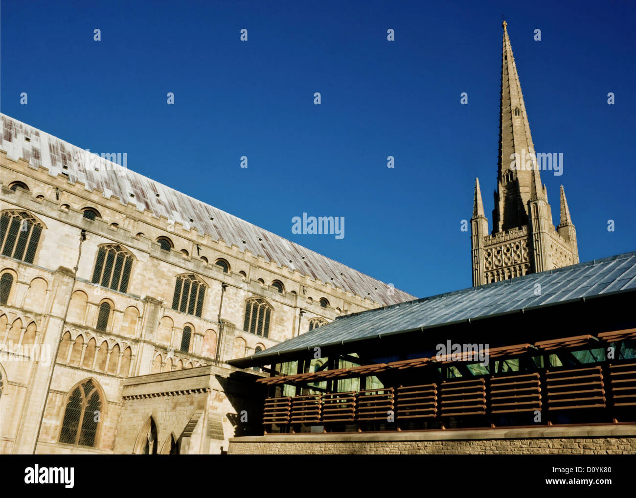 View of Norwich Cathedral and The Hostry in Norfolk, England. Taken from the south-east. Stock Photo