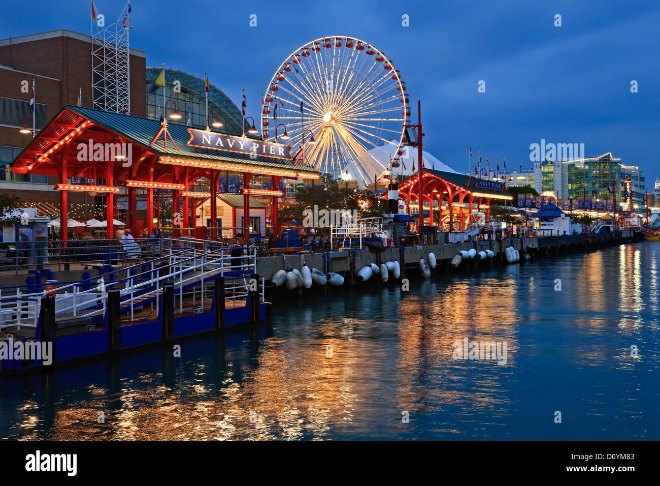 ferris wheel and navy pier chicago illinois usa stock photo