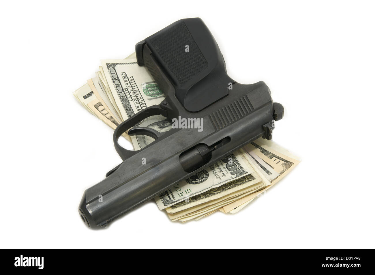 dollars and a gun - Stock Image