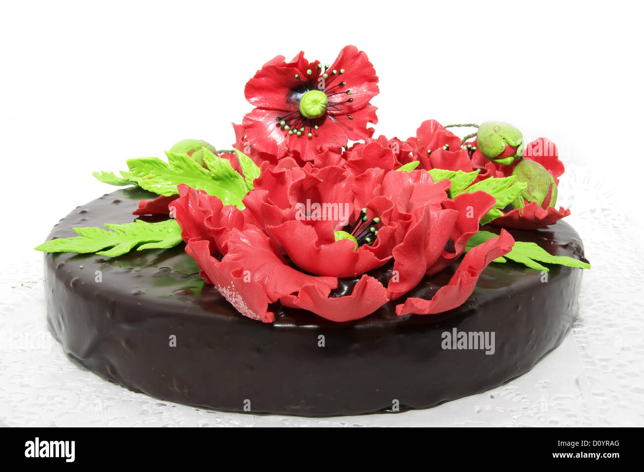 a large chocolate cake Stock Photo