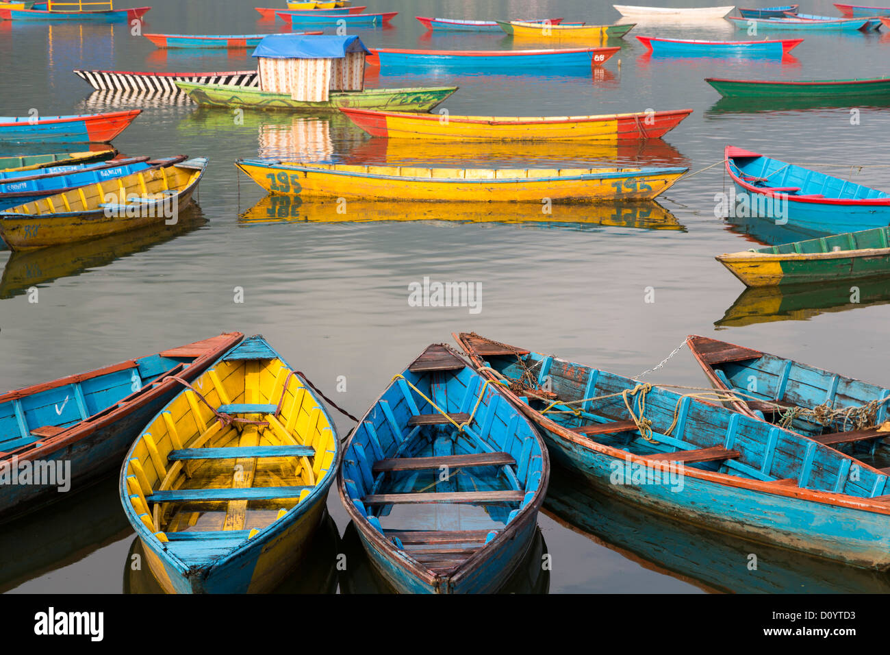 Many colorful wooden boat standing on Phewa (or Fewa) lake in Pokhara, Nepal - Stock Image