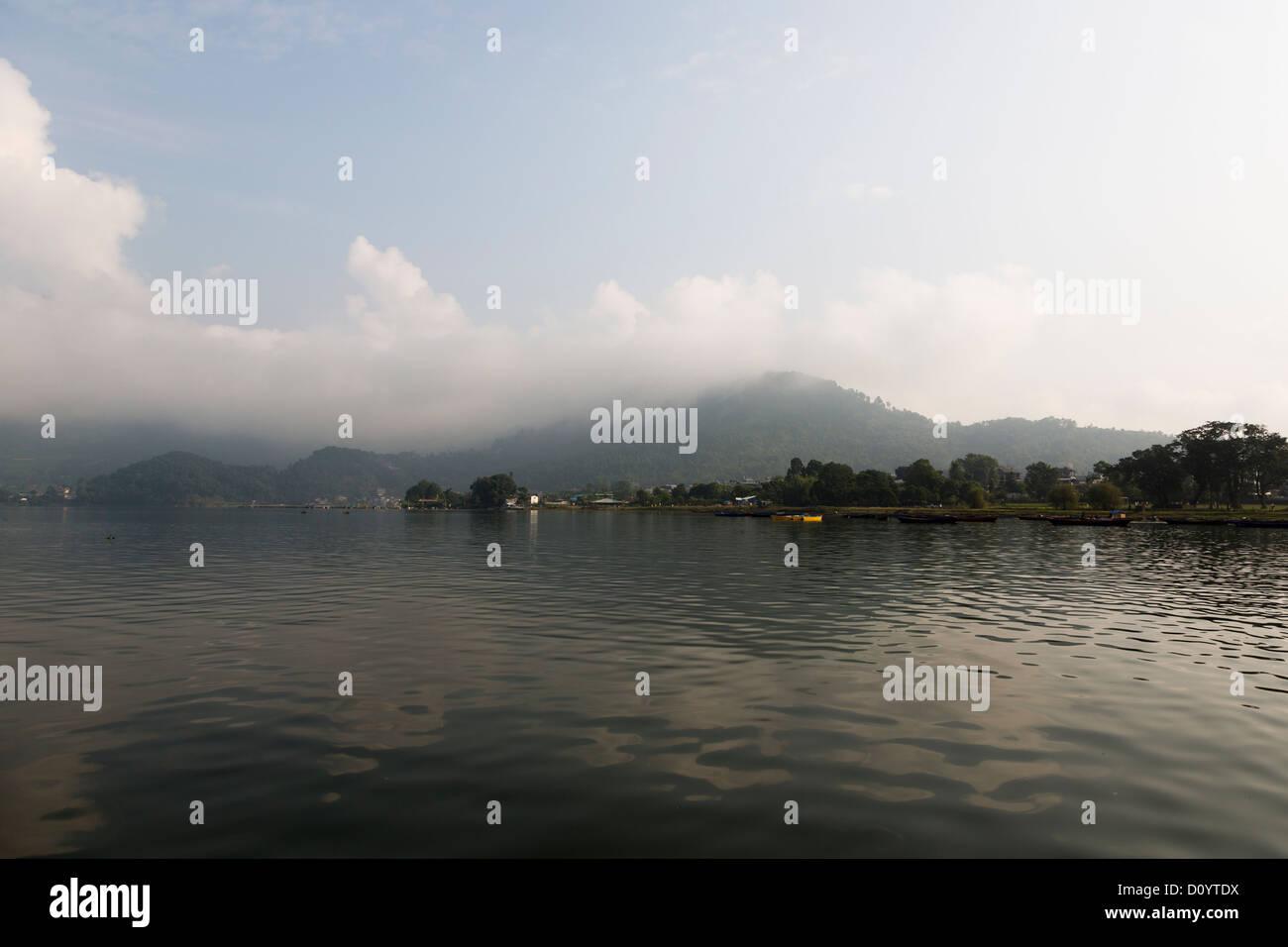 Phewa lake in Pokhara, Nepal - Stock Image