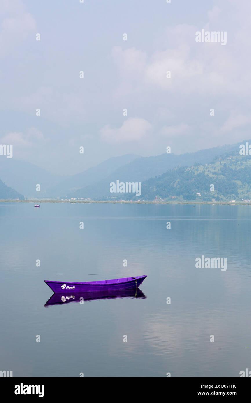 Phewa (or Fewa) lake in Pokhara, Nepal - Stock Image