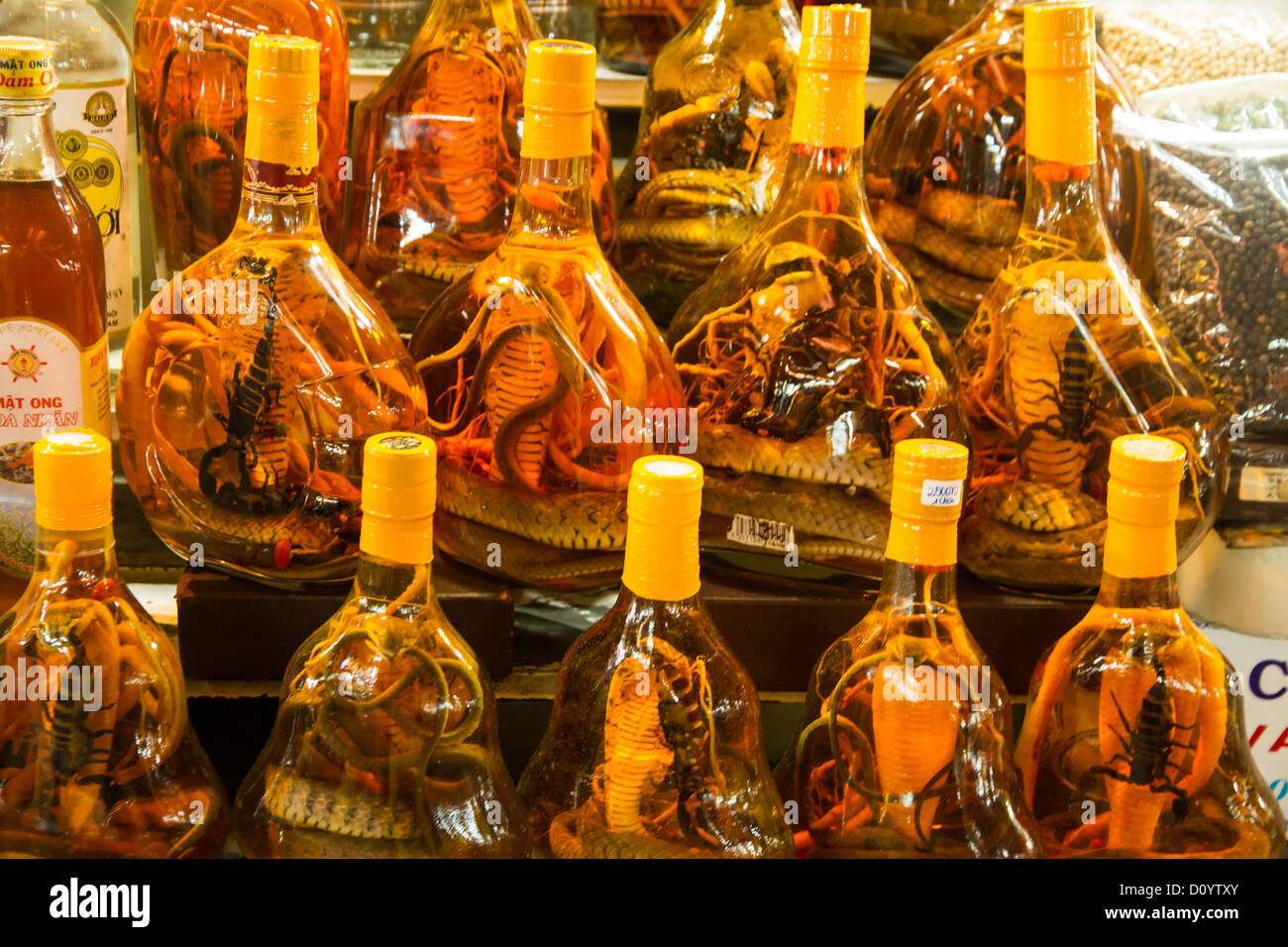 Bottles of liquor with various reptiles inside at the Ben Thanh market in Ho Chi Minh City Vietnam. - Stock Image