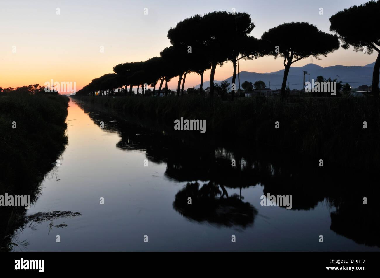 Drain of reclamation, Pontinia, Agro Pontino, Latina, Lazio, Italy - Stock Image