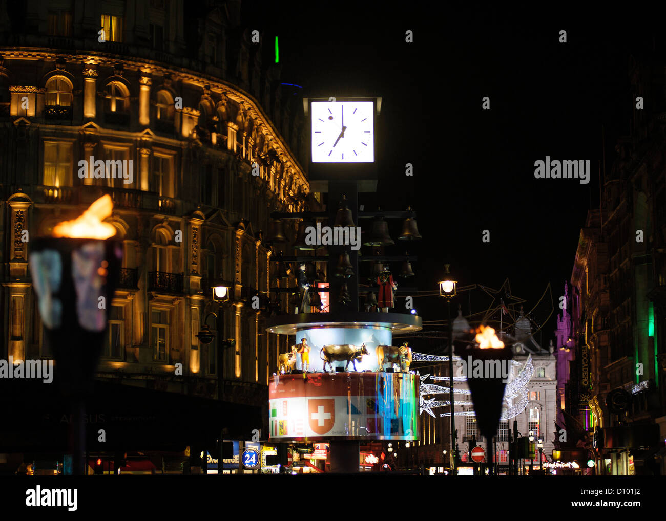 The swiss clock on the night of the  UK Premiere of LIFE OF PI on 03/12/2012 at  Leicester Square, London. - Stock Image