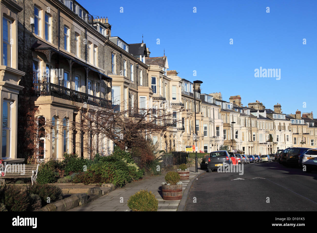 Victorian crescent of terraced houses within Percy Gardens Tynemouth, north east England UK - Stock Image