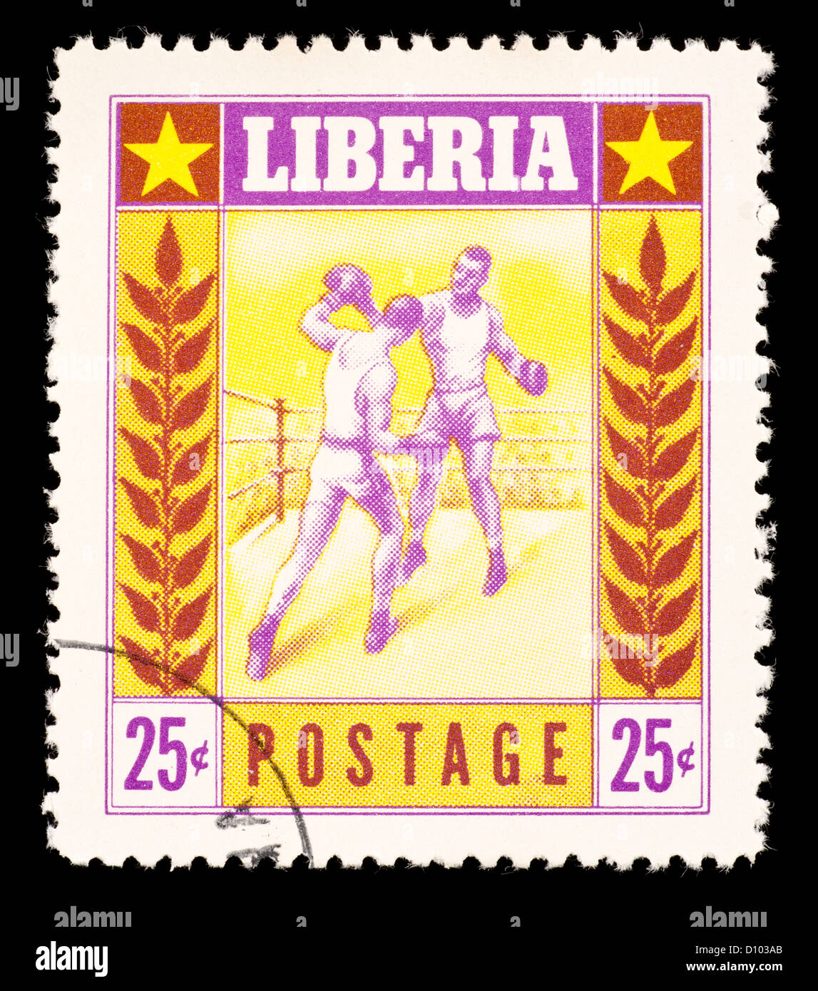 Postage stamp from Liberia depicting boxers. - Stock Image